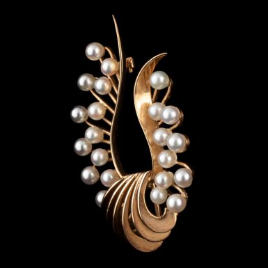 Vintage 14K Cultured Pearl Brooch