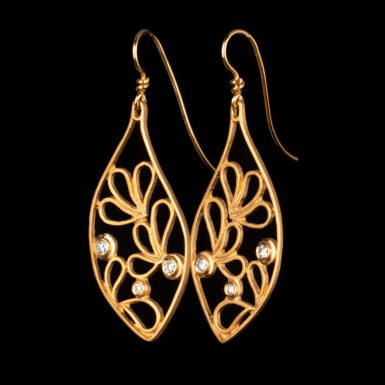 14K Leaf Dangle Earring with Diamonds