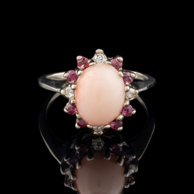 Vintage 14 Karat White Gold Coral Ring with Diamonds and Rubies