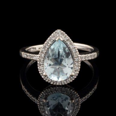 Pre-Owned 14k Aquamarine and Diamond Ring