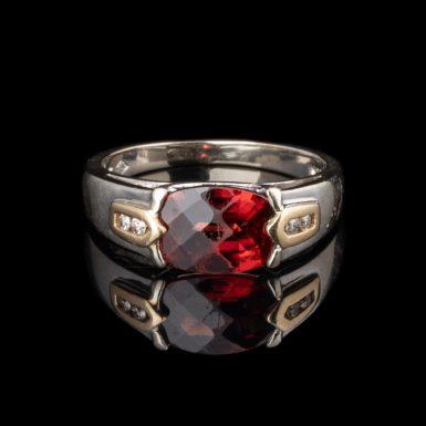 Pre-Owned 14k Garnet and Diamond Ring