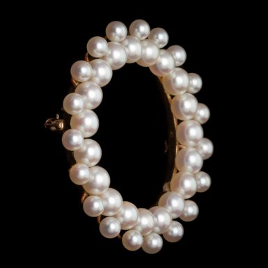 Vintage Akoya Pearl Circle Brooch