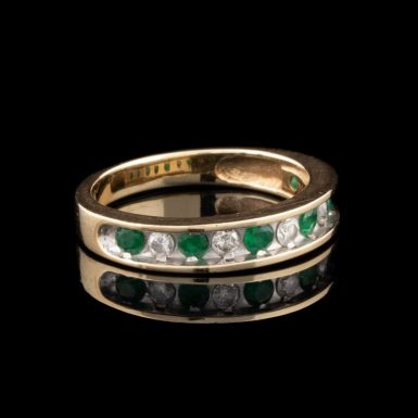 Pre-Owned 10K Emerald and Diamond Band