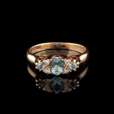 Pre-Owned 14 Karat Gold Aquamarine and Diamond Ring