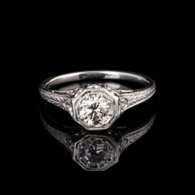 Vintage Style Diamond Filigree Platinum Engagement Ring