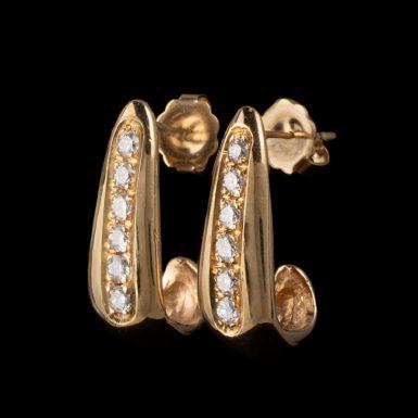 Pre-Owned 14K J-Hook Style Diamond Earrings
