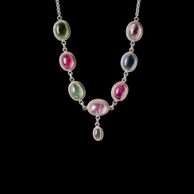 Pre-Owned Sterling Silver Tourmaline Necklace