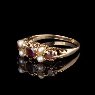 Pre-Owned 14K Garnet and Pearl Open Filigree Ring