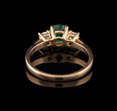 14K Classic Emerald and Diamond Ring