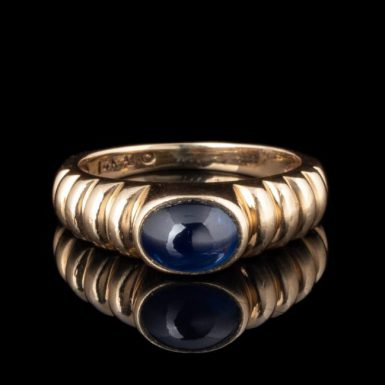 Pre-Owned 14K Scallop Design Bezel Set Sapphire Ring