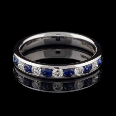 Pre-Owned Sapphire and Diamond Channel Set Band