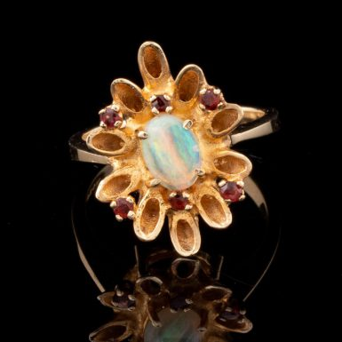 Pre-Owned Opal and Garnet Flower Ring