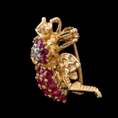 Pre-Owned 14K Pave Ruby Bee Pin