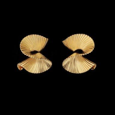 Vintage Tiffany & Co 14K Ribbon Earrings by George Schuler