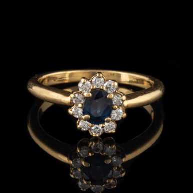 Pre-Owned 18K Princess Diana Style Sapphire and Diamond Ring