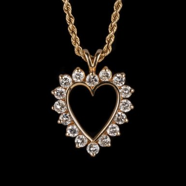Pre-Owned 14K Open Heart One Carat Total Weight Diamond Pendant