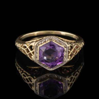 Pre-Owned 14K Hexagonal Cut Amethyst Filigree Ring