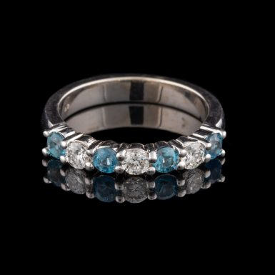 14K Aquamarine and Diamond Band