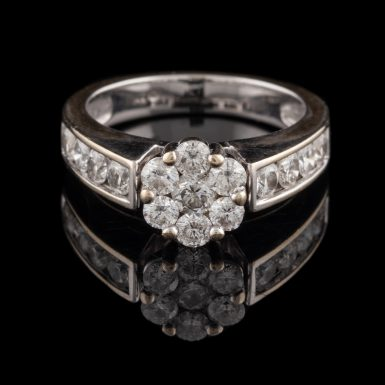 Pre-Owned 14K Cluster Set 1.50 Total Carat Weight Diamond Ring