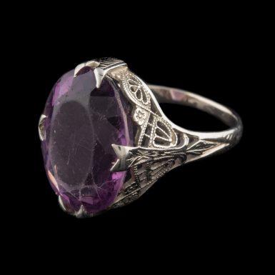 Vintage 18K White Gold Filigree Amethyst Ring