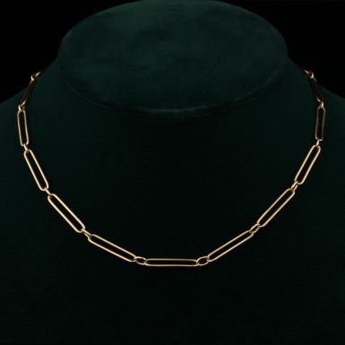 Vintage 14K Paper Clip Link Chain with Watch Clasp