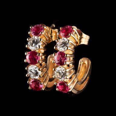 Pre-Owned 14K J-Hook Diamond and Ruby Earrings