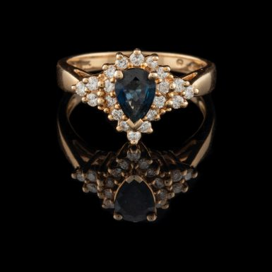 Pre-Owned 14K Pear Shaped Sapphire and Diamond Ring