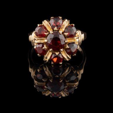 Vintage 10K Garnet Cluster Ring