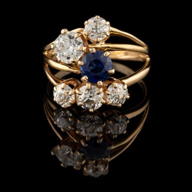 Vintage Diamond and Sapphire Ring in 14K Free-Form Setting