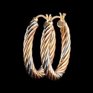 Pre-Owned 14K Tri-Colored Twisted Hoop Earrings