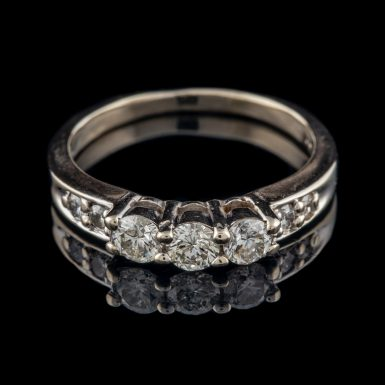 Pre-Owned 14K Three-Diamond Ring with Accents