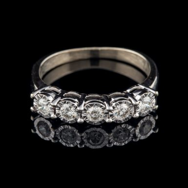 Pre-Owned 10K Five-Diamond Illusion Ring