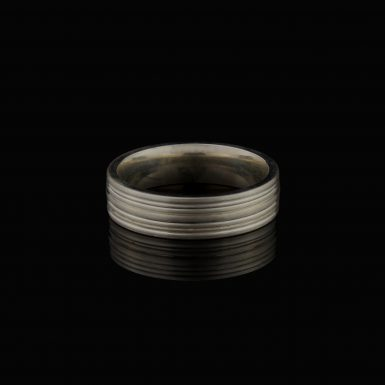 Sterling Silver Brushed 6mm Fancy Band