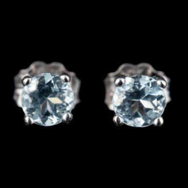 14K Half Carat Aquamarine Stud Earrings