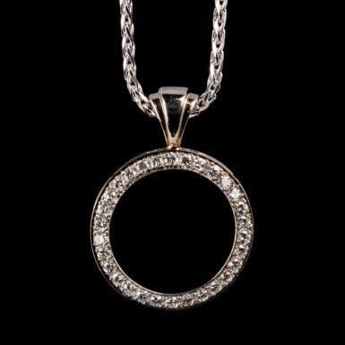 "Pre-Owned 14K Diamond Circle Pendant on 24"" Wheat Chain"