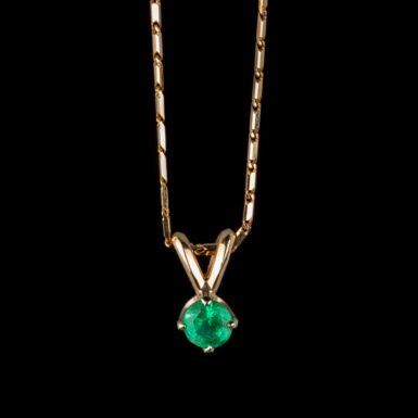 Pre-Owned Emerald Pendant on 18 inch Chain