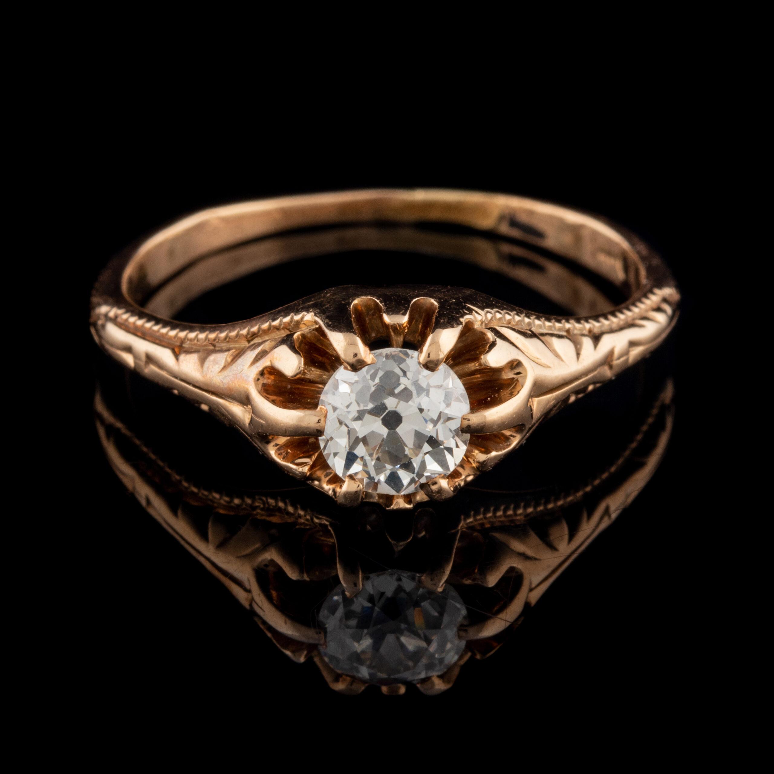 Antique 14K Old European Cut VVS Diamond Ring