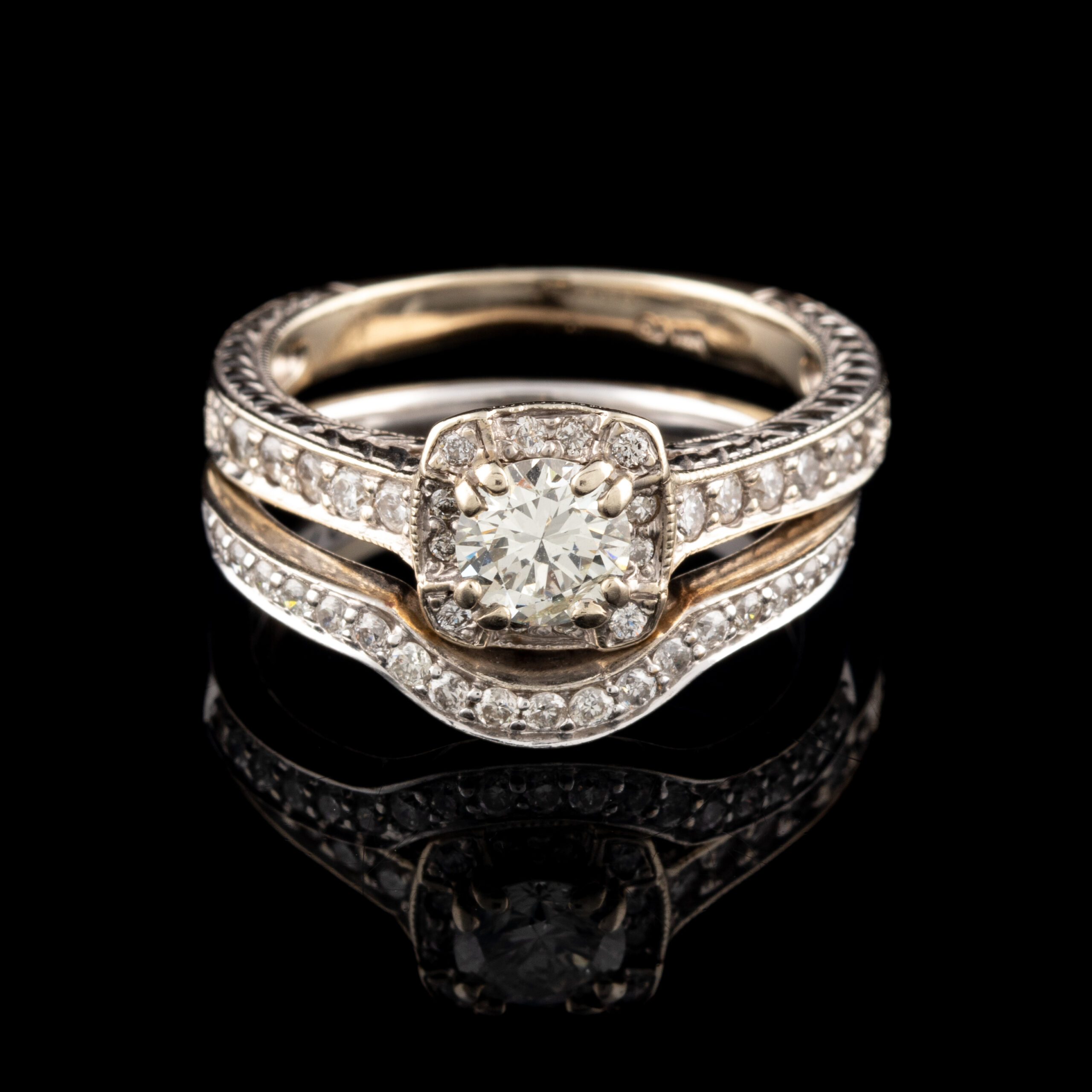 Pre-Owned 14K Fitted Diamond Engagement Set