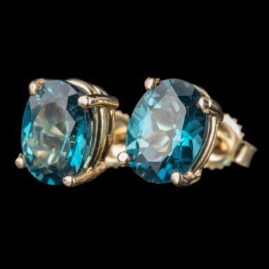 London Blue Topaz Stud Earrings in 14K Gold