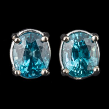 Blue Zircon Stud Earrings in 14K White Gold