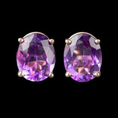 Pre-Owned 14K Oval Amethyst Stud Earrings