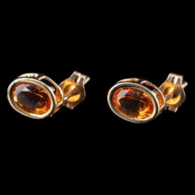 Pre-Owned 14K Oval Citrine Stud Earrings