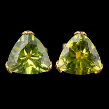 Pre-Owned 14K Trillion Shaped Peridot Stud Earrings