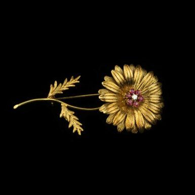 Vintage 18K Tiffany & Co Ruby and Diamond Flower Brooch