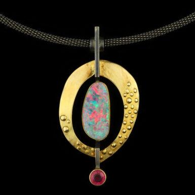 Pre-Owned 18K & 22K Opal & Tourmaline Artisan Necklace