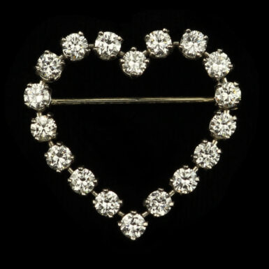 Vintage Platinum Tiffany & Co Diamond Heart Brooch