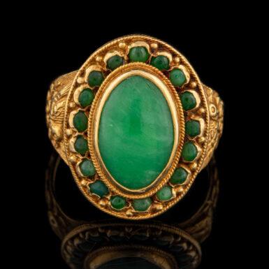 Vintage 14K Nephrite Jade Ring