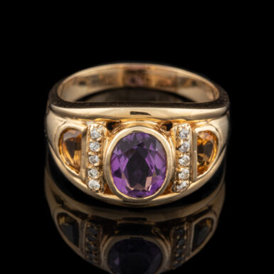 Pre-Owned 14K Amethyst Ring with Citrine and Diamonds
